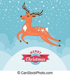Una tarjeta de Navidad con ciervos
