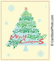 Una tarjeta de Navidad con un árbol de Navidad