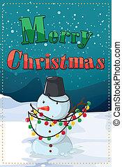 Una tarjeta de Navidad con un muñeco de nieve