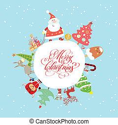 Una tarjeta de navidad graciosa y linda