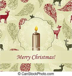 Una tarjeta de Navidad Vector con vela