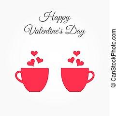 Una tarjeta de San Valentín con dos tazas rosas llenas de amor