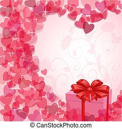 Una tarjeta de San Valentín con un regalo