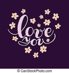 Una tarjeta de San Valentín. Letras dibujadas a mano.