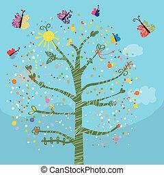 Una tarjeta graciosa con árboles y mariposas para niños
