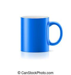 Una taza azul en blanco