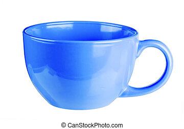 Una taza azul en blanco para café o té aislado en fondo blanco