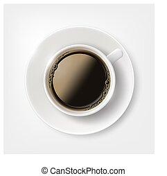 Una taza blanca con café