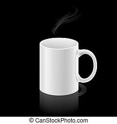Una taza blanca de fondo negro