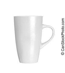 Una taza blanca en blanco para café o té aislado en fondo blanco