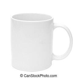 Una taza blanca vacía para café o té