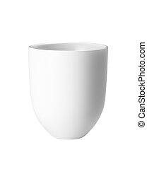 Una taza blanca vacía para un café