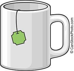 Una taza caliente con té