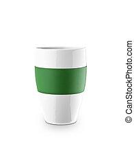 Una taza de café aislada en el fondo blanco