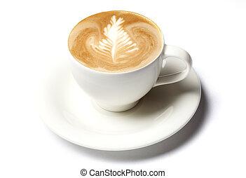 Una taza de café Barista aislada sobre el blanco