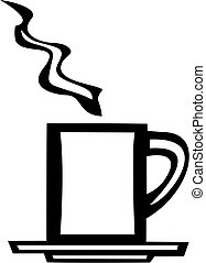 Una taza de café blanco