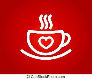 Una taza de café con corazón en el telón rojo.