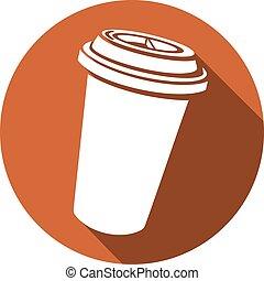 Una taza de café con icono plano