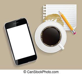Una taza de café con una ilustración abstracta de vectores en los negocios