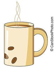 Una taza de café con vapor caliente y diseño de frijoles
