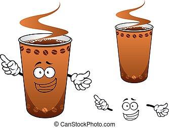 Una taza de café de dibujos animados