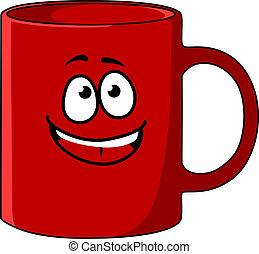 Una taza de café de dibujos rojos con una cara feliz