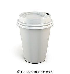 Una taza de café de plástico blanco en un fondo blanco