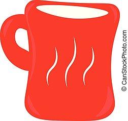 Una taza de café roja vector o ilustración de color