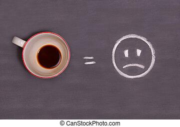 Una taza de café y un triste dibujo sonriente