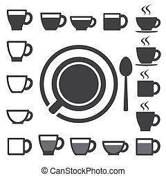 Una taza de café y una taza de té. Ilustración