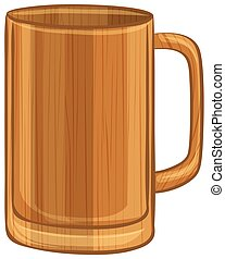 Una taza de madera de fondo blanco