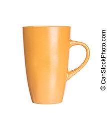 Una taza de naranja vacía para café o té aislado en fondo blanco
