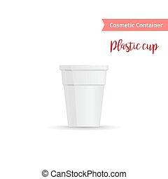 Una taza de plástico blanco en un contenedor cosmético
