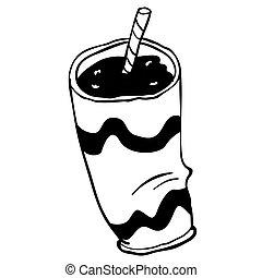 Una taza de plástico blanco y negro