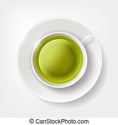 Una taza de té verde.