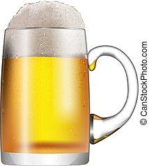 Una taza de vidrio con cerveza y espuma aislada en fondo blanco.