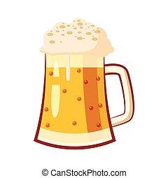 Una taza de vidrio con icono de cerveza, estilo de dibujos animados
