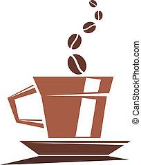 Una taza fuerte de café asado