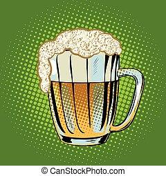 Una taza llena de cerveza con espuma