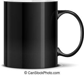 Una taza negra en blanco