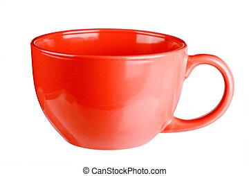 Una taza roja vacía para café o té aislado en fondo blanco