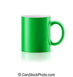 Una taza verde en blanco
