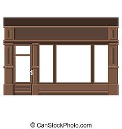 Una tienda con ventanas blancas. La fachada de una tienda de madera. Vector.