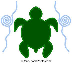 Una tortuga icono en el agua
