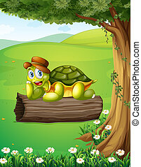 Una tortuga relajándose sobre el tronco bajo el árbol
