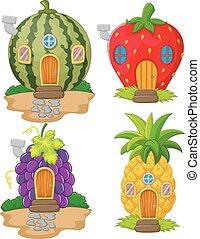 Una variedad de dibujos animados de fruta casera