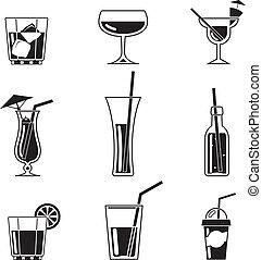 Una variedad de iconos de cóctel negro