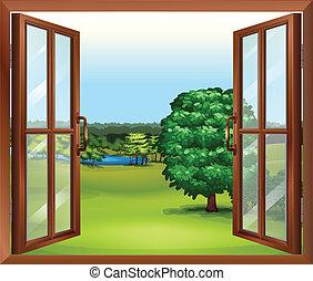 Una ventana abierta de madera
