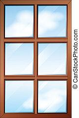 Una ventana de madera con cristales