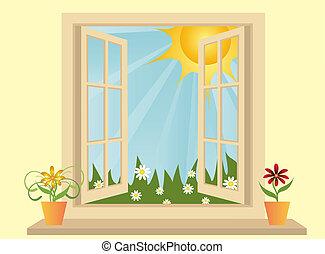 Una ventana de plástico abierta en el cuarto con vistas al campo verde